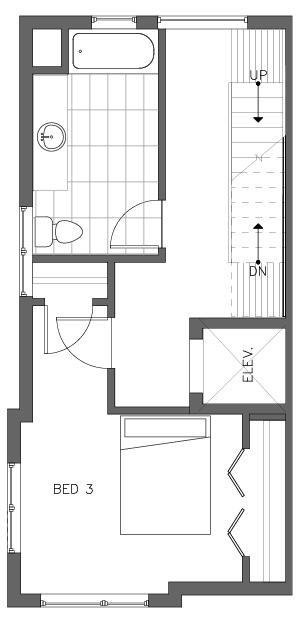 Third Floor Plan of the Cedar Floor Plan in The Pines at Northgate