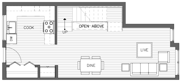 First Floor Plan of the Foxtail Floor Plan in The Pines at Northgate