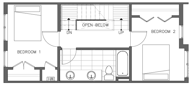 Third Floor Plan of the Pinyon Floor Plan in The Pines at Northgate
